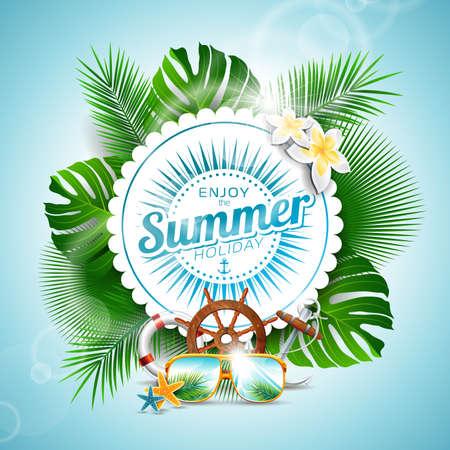 Disfrute de la ilustración tipográfica de vacaciones de verano con plantas tropicales y elementos de estaciones sobre fondo azul claro.