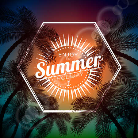 summer holiday: Say Hello To Summer typographic illustration with tropical plants and sunlight on a palm background.