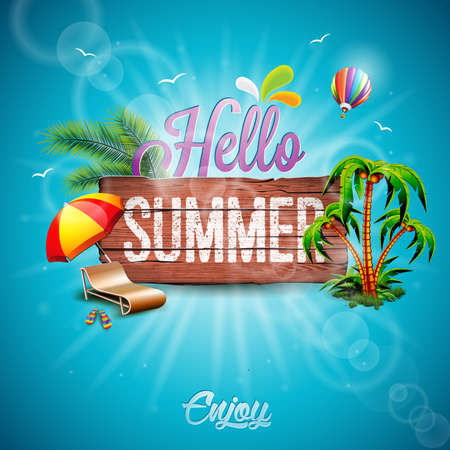Hello Summer Holiday typographic illustration with tropical plants, flower and hot air balloon on vintage wood background.