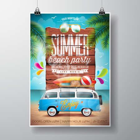 Progettazione estate Beach Party con van di viaggio e tavola da surf su sfondo paesaggio dell'oceano. design tipografico su legno d'epoca. Archivio Fotografico - 57963443