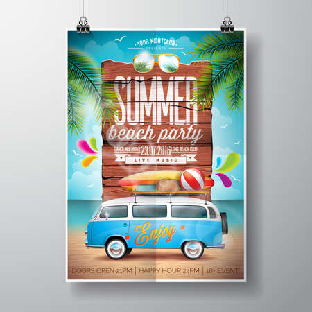 Summer Beach Party Design with travel van and surf board on ocean landscape background. Typographic design on vintage wood.