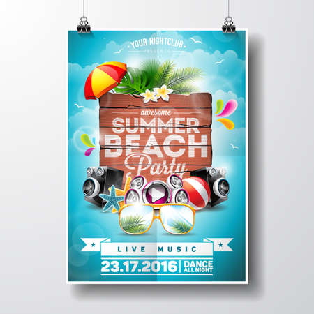 discoball: Summer Beach Party Design with typographic elements on wood texture background. Summer nature floral elements and sunglasses.