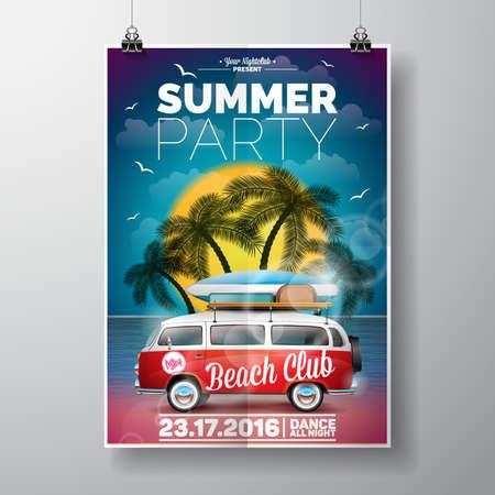 Progettazione estate Beach Party con van di viaggio e tavola da surf su sfondo di palme. Vettoriali