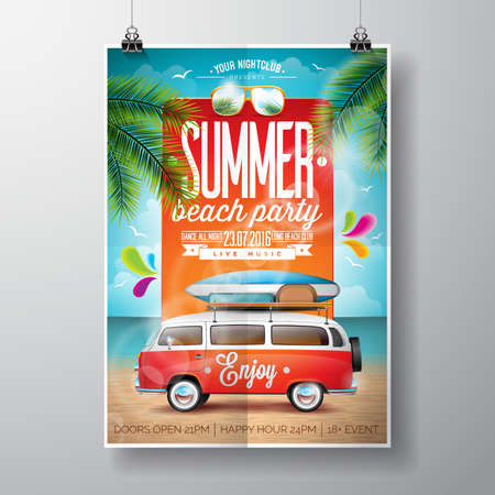Summer Beach Party Design with travel van and surf board on palm background.