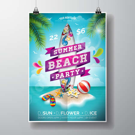 Summer Beach Party Design with surf board and paradise island on ocean landscape background. Typographic design on banner.