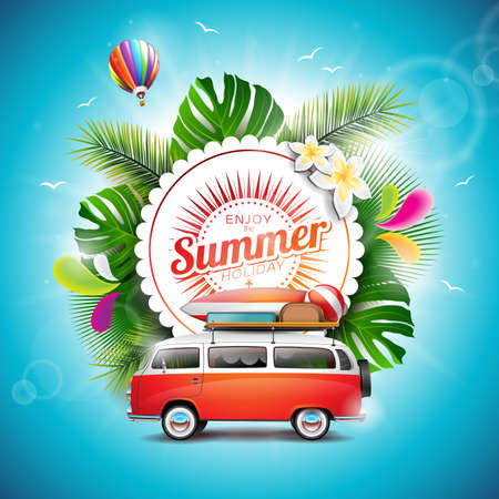 Enjoy the Summer Holiday typographic illustration on white badge and floral background. Tropical plants, flower, travel van and air balloon. 일러스트