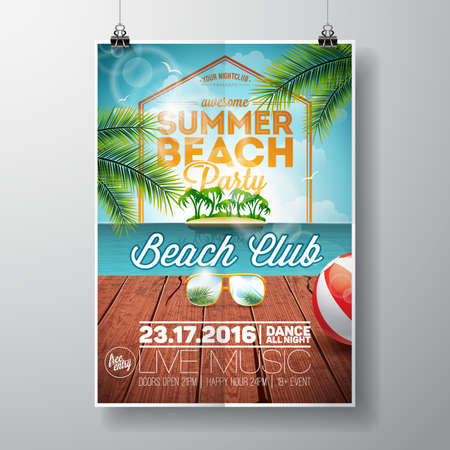 Summer Beach Party Design with sunglasses on ocean landscape background. Typographic design on vintage wood.