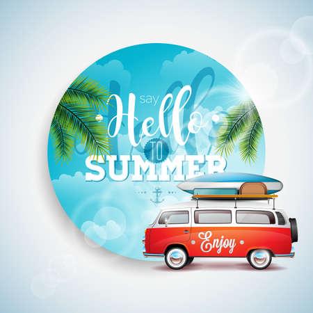 Saluda a la ilustración tipográfica de vacaciones de verano sobre fondo floral de plantas tropicales. Cielo azul y furgoneta de viaje.