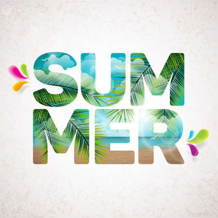 Summer Holiday typographic illustration with tropical plants, flower, beach and ocean landscape on vintage  background.