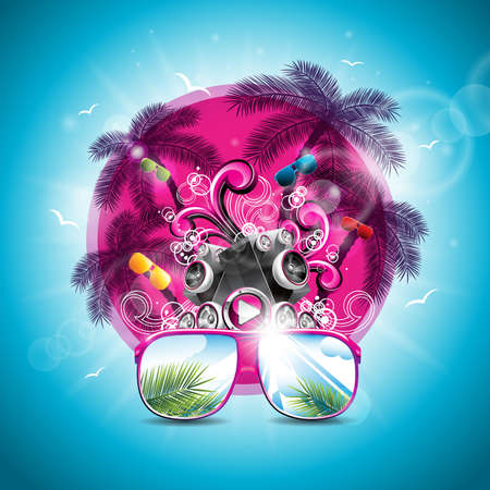 Summer Holiday illustration on a Music and Party theme with speakers and sunglasses on blue background.
