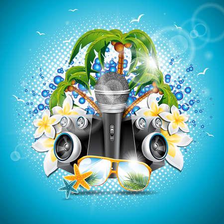 Illustrazione di vacanza estiva su un tema di musica e di partito con altoparlanti e occhiali da sole su sfondo blu.