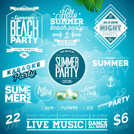 signs and symbols: Summer Beach Party Typography Illustration set with signs and symbols on blue background. Icon collection for clubs and night club. Illustration