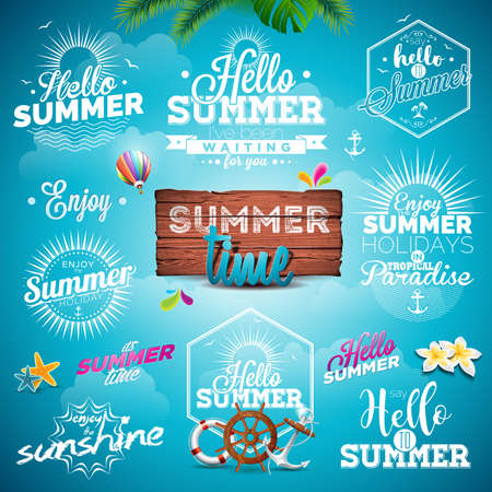 beach party: Summer Typography Illustration set with signs and symbols on blue background. Icon collection for travel agency, restaurant and bar, beach vacation and party. Illustration