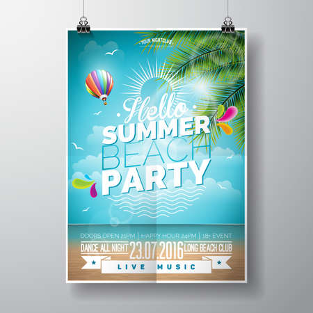 Summer Beach Party Design with typographic elements on ocean landscape background. Air balloon and palm tree.