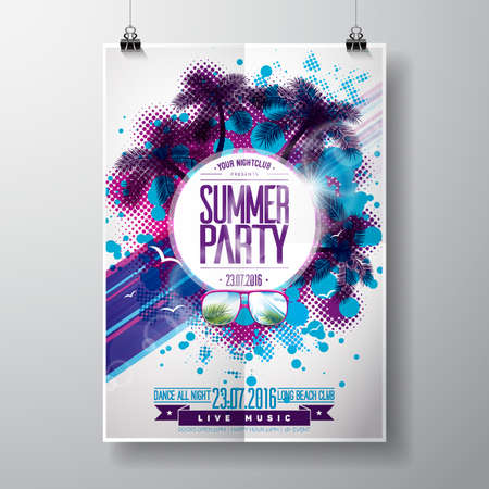 Summer Beach Party Design with typographic  elements on abstract background. Palm trees and sunglasses.