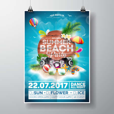 Summer Beach Party Design with typographic elements on wood texture background. Summer nature floral elements and sunglasses.