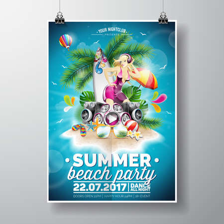 Summer Beach Party Design with typographic elements on blue sky background. Summer nature floral and girl ion paradise island.
