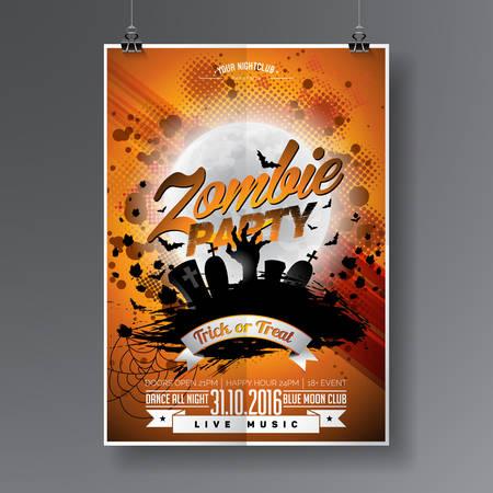 Halloween Zombie Party Design with typographic elements on orange background