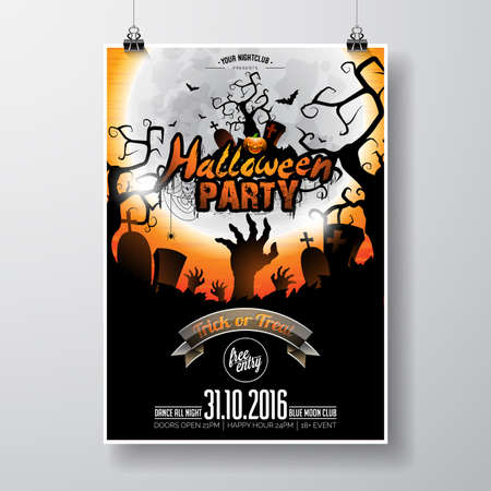 retro party: Halloween Party Design with typographic elements and pumpkin on orange background