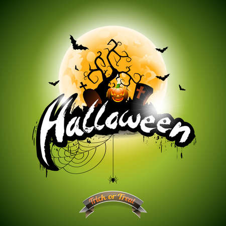 Halloween illustration with pumpkin on green background. Illustration