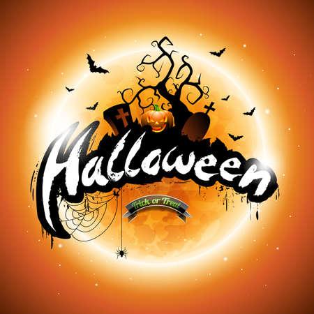 Happy Halloween illustration with pumpkin and moon on orange background.