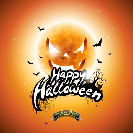 Happy Halloween illustration with typographic elements and pumpkin moon on orange background. Illustration