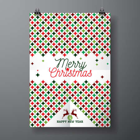 poster design: Merry Christmas Holiday and Happy New Year illustration with typographic design and abstract color texture pattern on clean background.