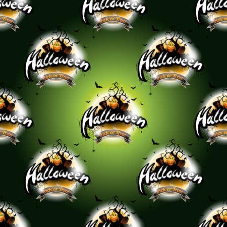 Happy Halloween seamless pattern illustration with moon and pumpkin on dark green background.