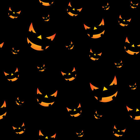 cute wallpaper: Halloween seamless pattern illustration with pumpkins scary faces on black background.