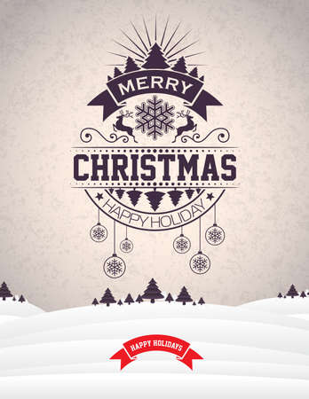 christmas backgrounds: Vector Merry Christmas Holiday and Happy New Year illustration with typographic design and snowflakes on winter landscape background.