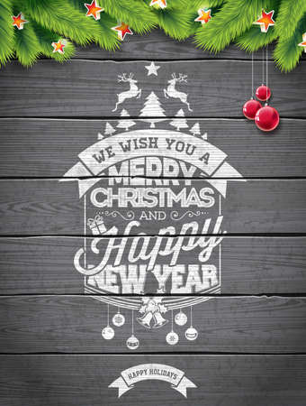 christmas backgrounds: Vector Merry Christmas Holiday and Happy New Year illustration with typographic design and snowflakes on wintage wood background. Illustration
