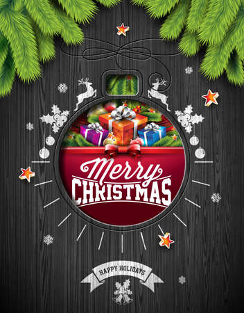 happy new year text: Vector Merry Christmas Holiday and Happy New Year illustration with typographic design and snowflakes on vintage wood background.