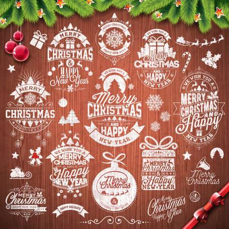 christmas backgrounds: Vector Merry Christmas Holidays and Happy New Year illustration with typographic design set on vintage wood texture background. Illustration