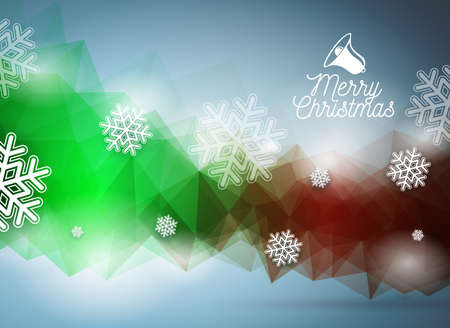 Vector Merry Christmas illustration with snowflakes on abstract geometric background. Illustration