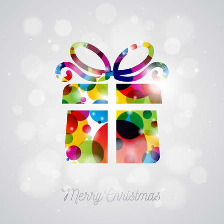 christmas backgrounds: Vector Merry Christmas Holiday illustration with abstract gift box design on shiny background.