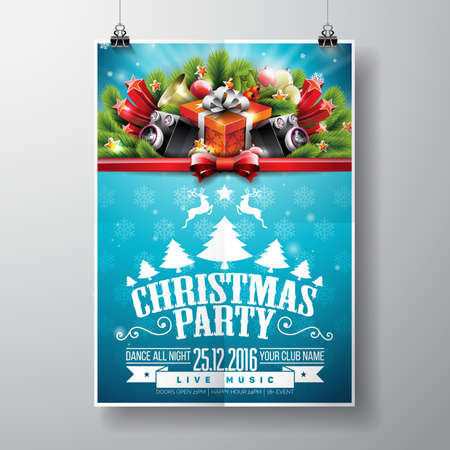 Vector diseño de fiesta de Navidad feliz con elementos de tipografía de vacaciones y altavoces sobre fondo brillante.