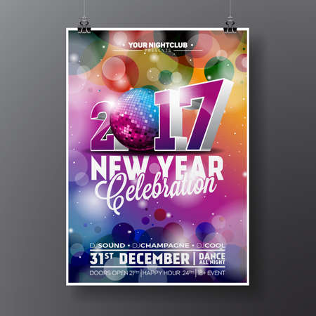 christmas backgrounds: New Year Celebration Party illustration with 2017 holiday typography designs with disco ball on shiny color background.