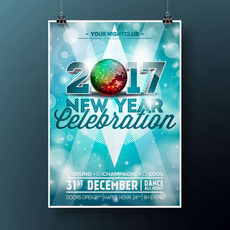 blue party: New Year Celebration Party illustration with 2017 holiday typography designs with disco ball on shiny blue background. Illustration