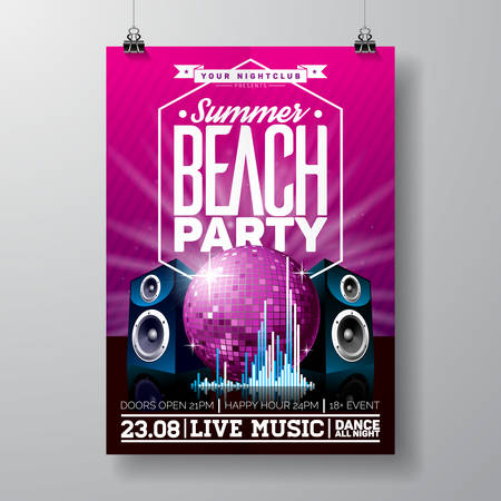beach sunset: Vector Party Flyer Design with music elements on violet background. Speakers and disco ball. Eps10 illustration. Illustration