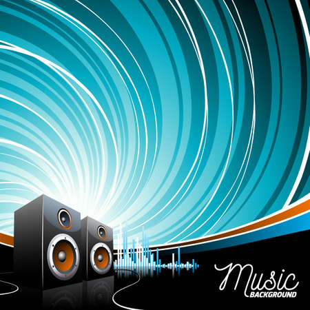 Vector music illustration with speakers on grunge bacground. Illustration