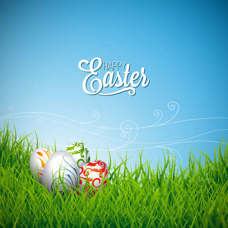 Vector Easter holiday Illustration with painted eggs on grass background. Illustration