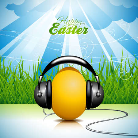 Vector Easter holiday Illustration with painted egg and headphone on springl background.