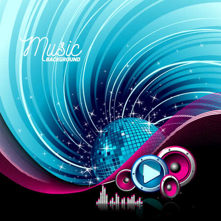 Vector music illustration with speakers and disco ball on grunge background. Eps 10.