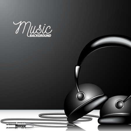 Vector music illustration with headphone on clean background. Eps 10.