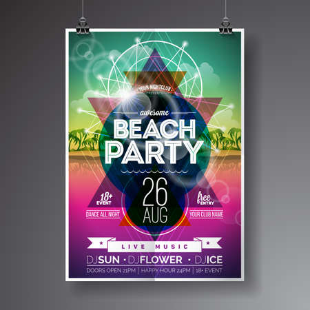 Vector Summer Beach Party Flyer Design with paradise island on ocean landscape background. Eps10 illustration. Ilustração