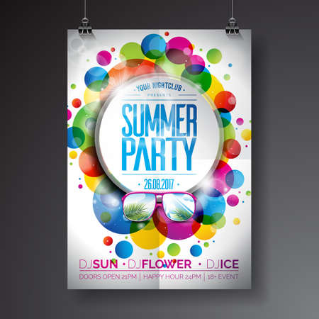 music background: Vector Summer Party Flyer Design with typographic design on abstract color circles background. Eps10 illustration. Illustration