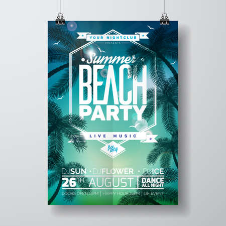 A Vector Summer Beach Party Flyer Design with typographic design on nature background with palm trees. Eps10 illustration. Ilustração