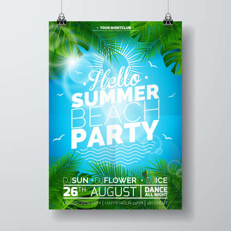 A Vector Summer Beach Party Flyer Design with typographic design on nature background with palm trees. Eps10 illustration. Ilustrace