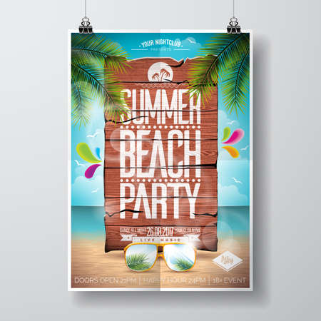 A Vector Summer Beach Party Flyer Design with typographic elements on wood texture background. Summer nature floral elements and sunglasses. Eps10 illustration. Ilustração