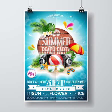 Een Vector Zomer Beach Party Flyer Design met typografische elementen op houten textuur achtergrond. Zomer natuur bloemen elementen en zonnebrillen. Eps10 illustratie.